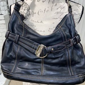 Beautiful Tignanello Black Leather Handbag Purse